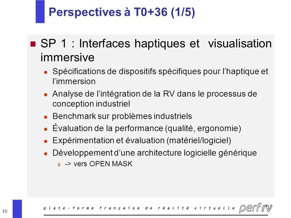 30 Perspectives à T0+36 (1/5) SP 1 : Interfaces haptiques et visualisation immersive l Spécifications de dispositifs spécifiques pour lhaptique et lim