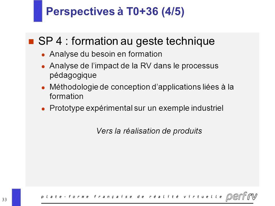 33 Perspectives à T0+36 (4/5) n SP 4 : formation au geste technique l Analyse du besoin en formation l Analyse de limpact de la RV dans le processus p
