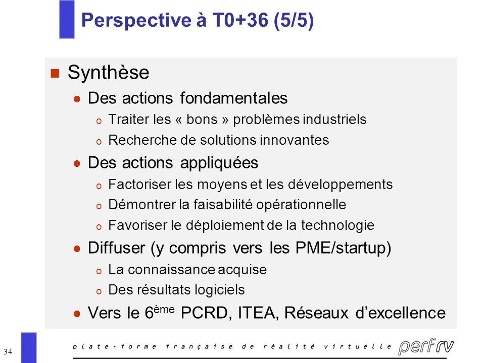 34 Perspective à T0+36 (5/5) n Synthèse l Des actions fondamentales o Traiter les « bons » problèmes industriels o Recherche de solutions innovantes l