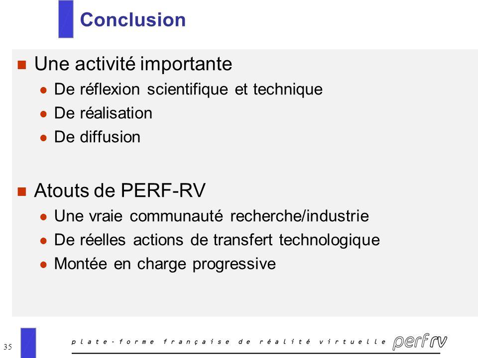 35 Conclusion n Une activité importante l De réflexion scientifique et technique l De réalisation l De diffusion n Atouts de PERF-RV l Une vraie commu
