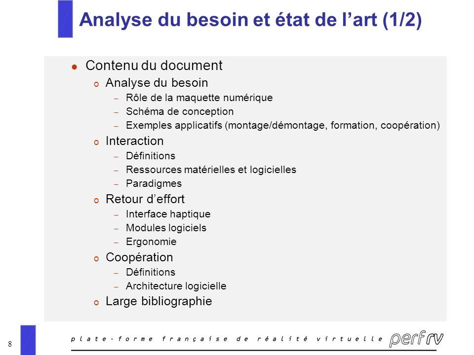 8 Analyse du besoin et état de lart (1/2) l Contenu du document o Analyse du besoin – Rôle de la maquette numérique – Schéma de conception – Exemples