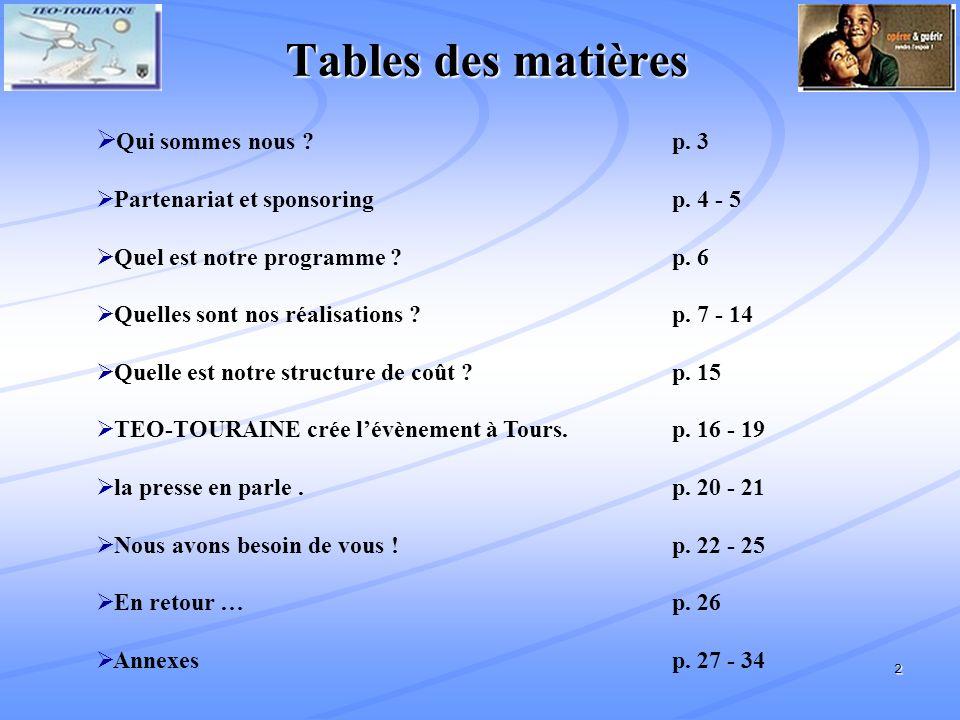 2 Tables des matières Qui sommes nous .p. 3 Partenariat et sponsoring p.