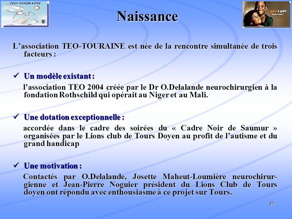 27 Naissance Lassociation TEO-TOURAINE est née de la rencontre simultanée de trois facteurs : Un modèle existant : Un modèle existant : lassociation TEO 2004 créée par le Dr O.Delalande neurochirurgien à la fondation Rothschild qui opérait au Niger et au Mali.