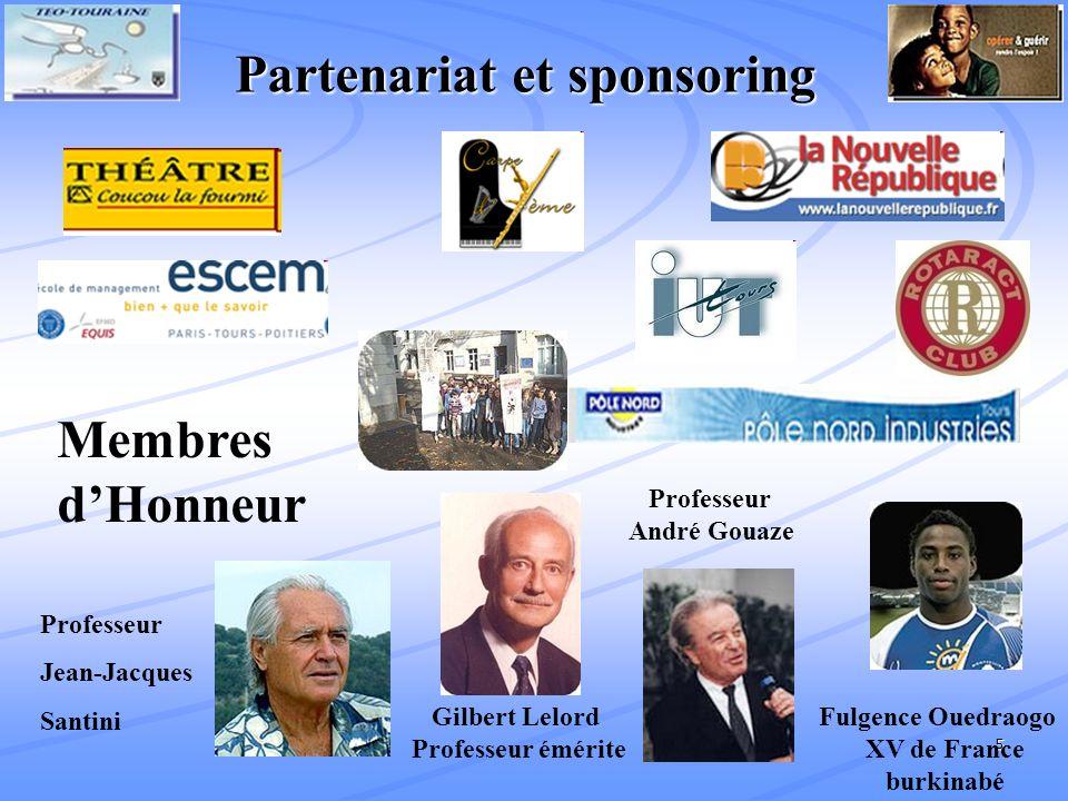 5 Gilbert Lelord Fulgence Ouedraogo Professeur émérite XV de France burkinabé Membres dHonneur Partenariat et sponsoring Professeur André Gouaze Professeur Jean-Jacques Santini