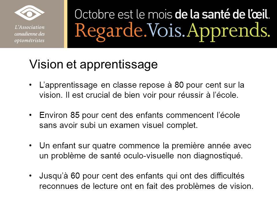 Vision et apprentissage Lapprentissage en classe repose à 80 pour cent sur la vision. Il est crucial de bien voir pour réussir à lécole. Environ 85 po