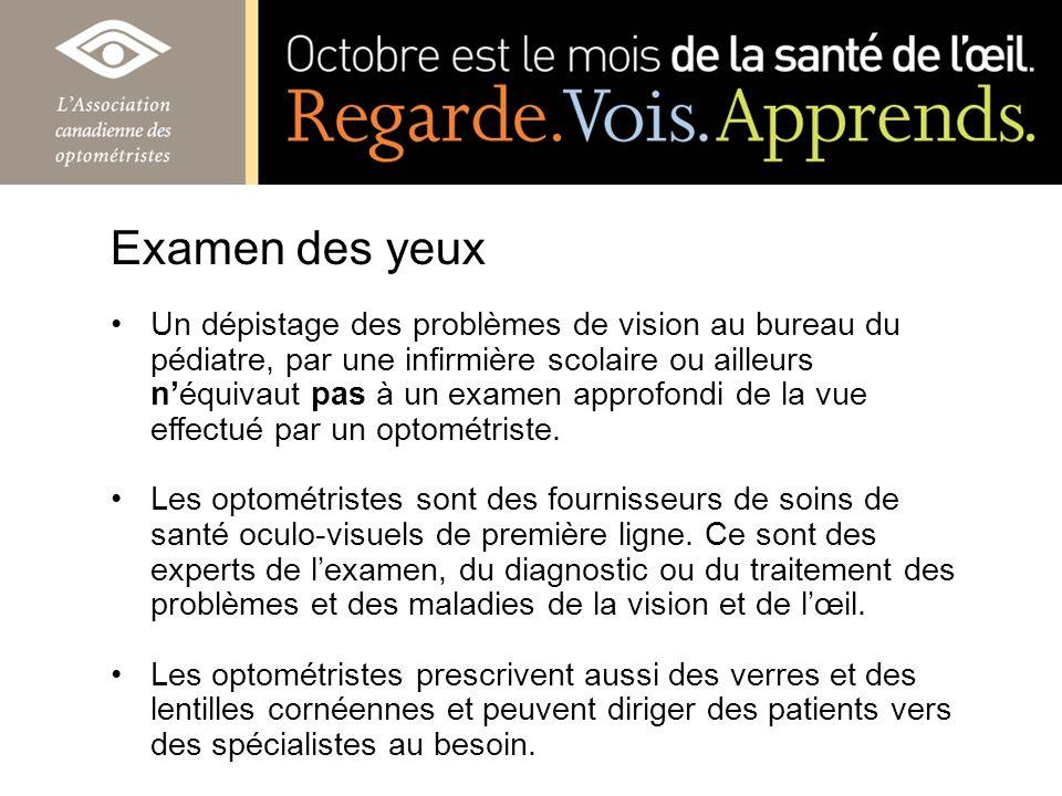 Un dépistage des problèmes de vision au bureau du pédiatre, par une infirmière scolaire ou ailleurs néquivaut pas à un examen approfondi de la vue eff