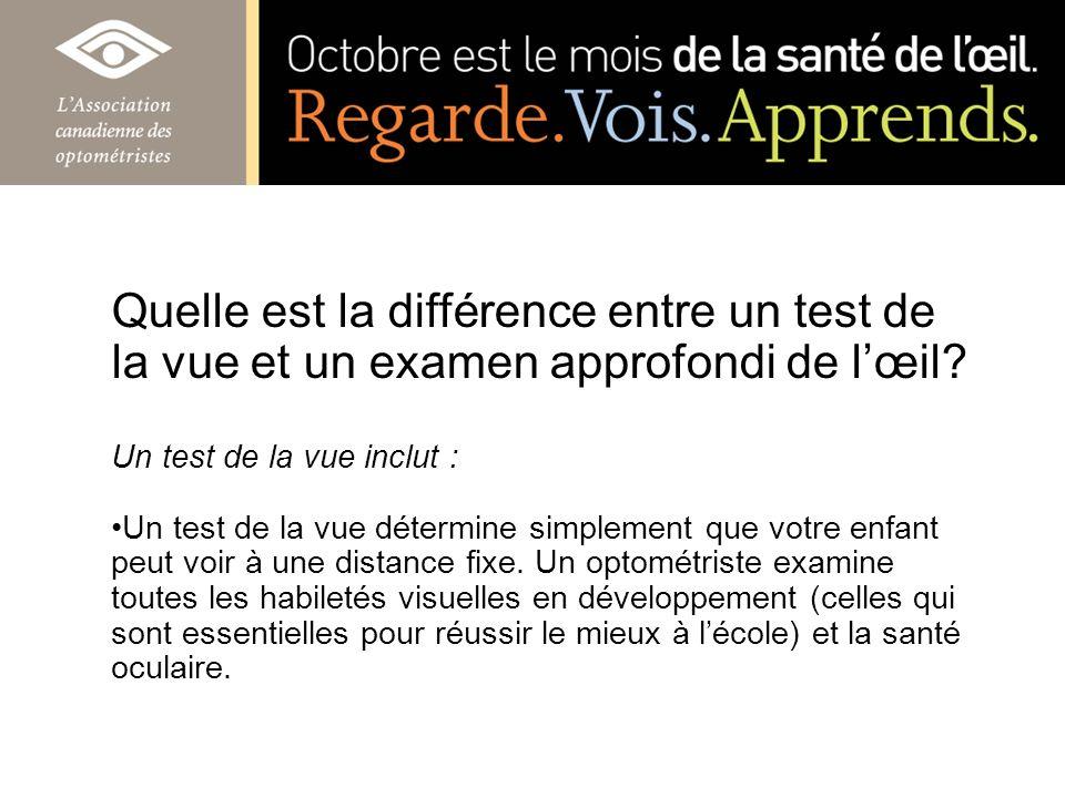 Quelle est la différence entre un test de la vue et un examen approfondi de lœil? Un test de la vue inclut : Un test de la vue détermine simplement qu