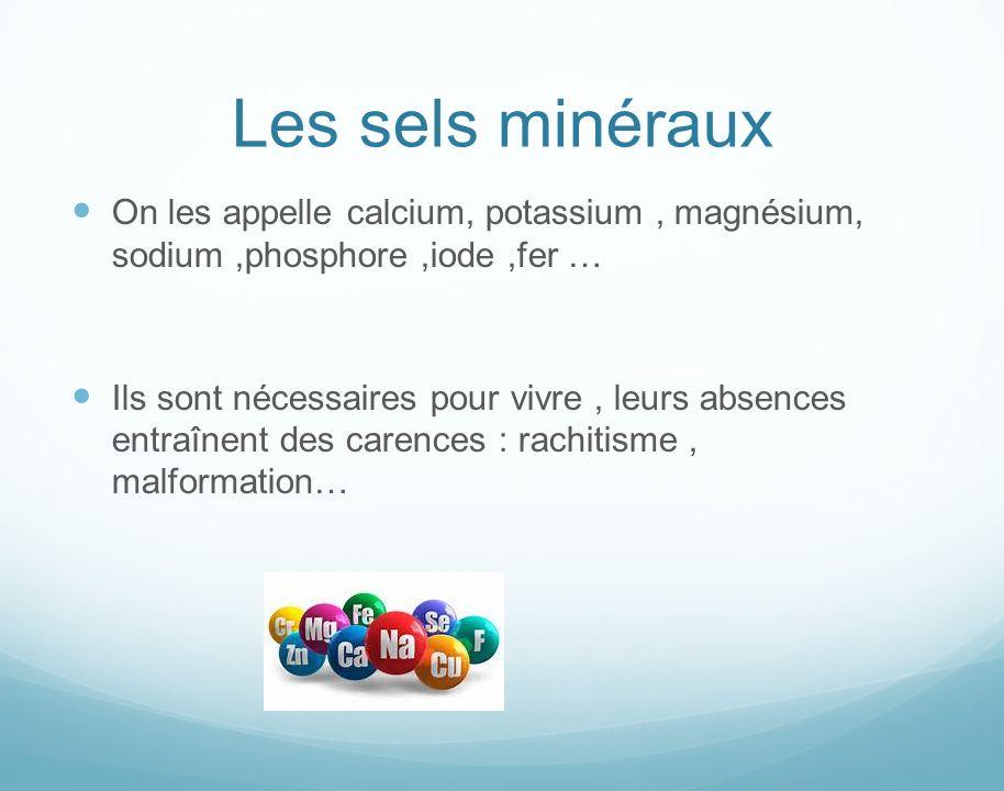 Les sels minéraux On les appelle calcium, potassium, magnésium, sodium,phosphore,iode,fer … Ils sont nécessaires pour vivre, leurs absences entraînent des carences : rachitisme, malformation…