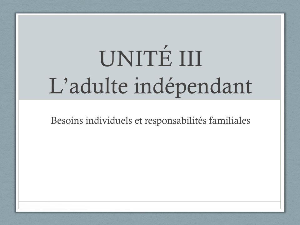 UNITÉ III Ladulte indépendant Besoins individuels et responsabilités familiales