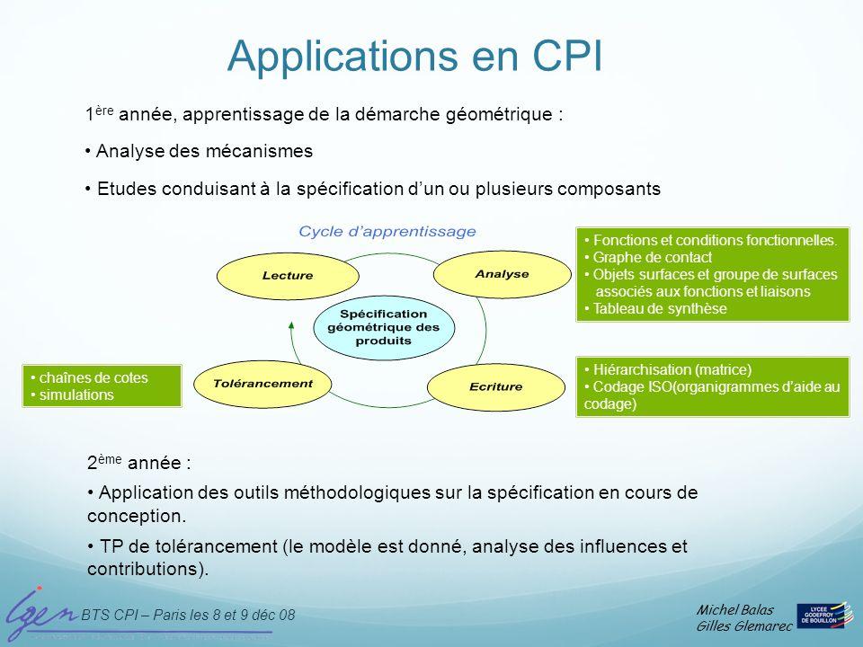 BTS CPI – Paris les 8 et 9 déc 08 Michel Balas Gilles Glemarec Applications en CPI 1 ère année, apprentissage de la démarche géométrique : Analyse des