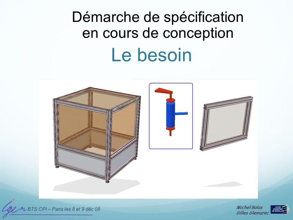 BTS CPI – Paris les 8 et 9 déc 08 Michel Balas Gilles Glemarec Le besoin Démarche de spécification en cours de conception