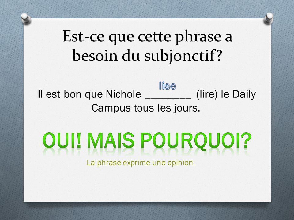 Est-ce que cette phrase a besoin du subjonctif? Il est bon que Nichole ________ (lire) le Daily Campus tous les jours. La phrase exprime une opinion.