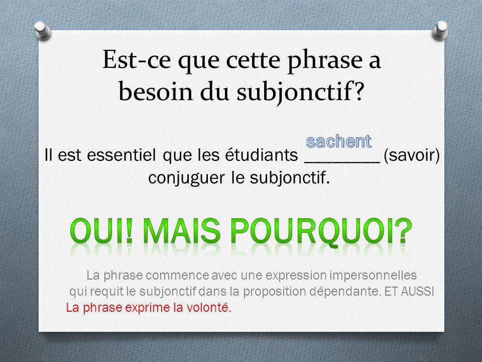 Est-ce que cette phrase a besoin du subjonctif? Il est essentiel que les étudiants ________ (savoir) conjuguer le subjonctif. La phrase commence avec