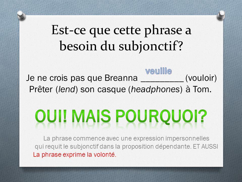Est-ce que cette phrase a besoin du subjonctif? Je ne crois pas que Breanna _________ (vouloir) Prêter (lend) son casque (headphones) à Tom. La phrase