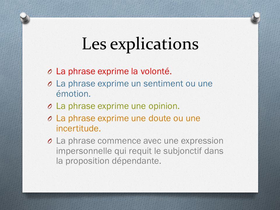 Les explications O La phrase exprime la volonté. O La phrase exprime un sentiment ou une émotion. O La phrase exprime une opinion. O La phrase exprime
