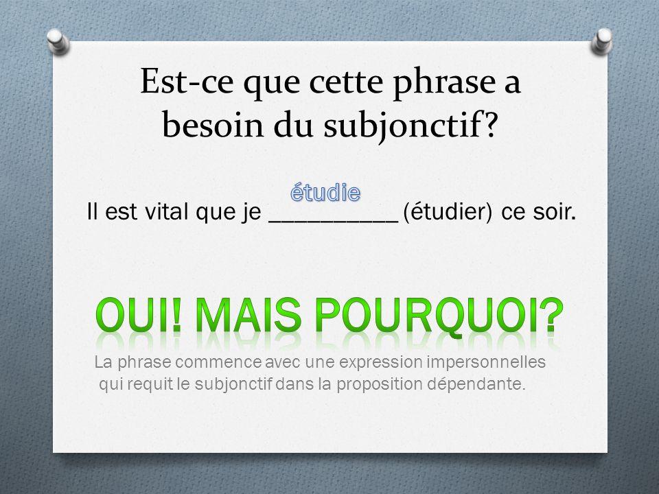 Est-ce que cette phrase a besoin du subjonctif.Il est vital que je __________ (étudier) ce soir.