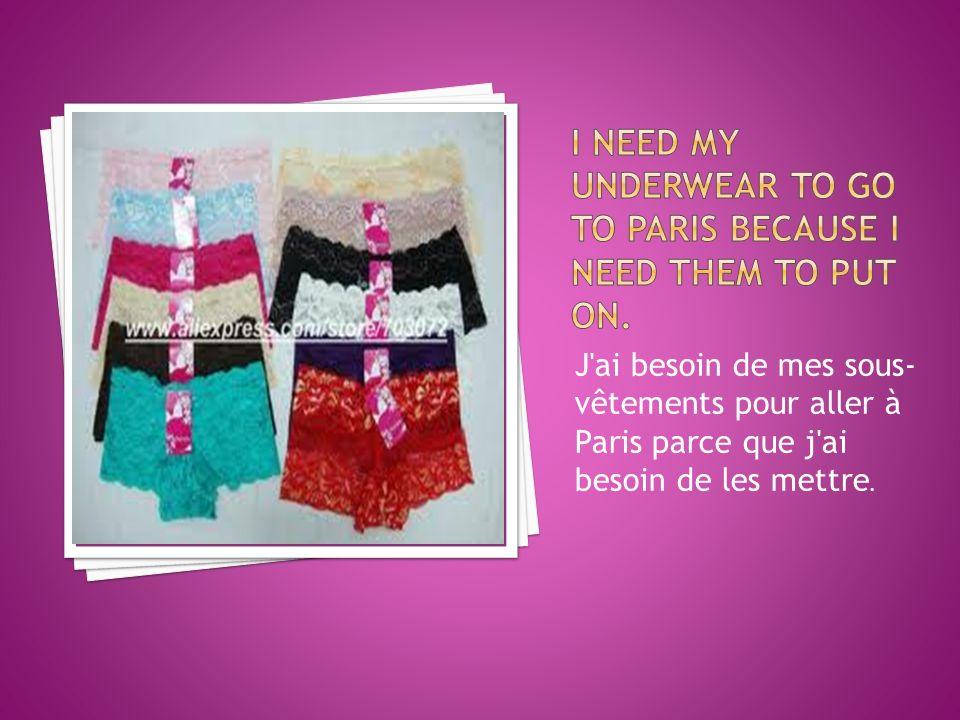 J ai besoin de mes sous- vêtements pour aller à Paris parce que j ai besoin de les mettre.