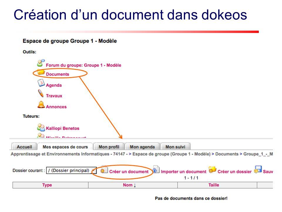 Création dun document dans dokeos