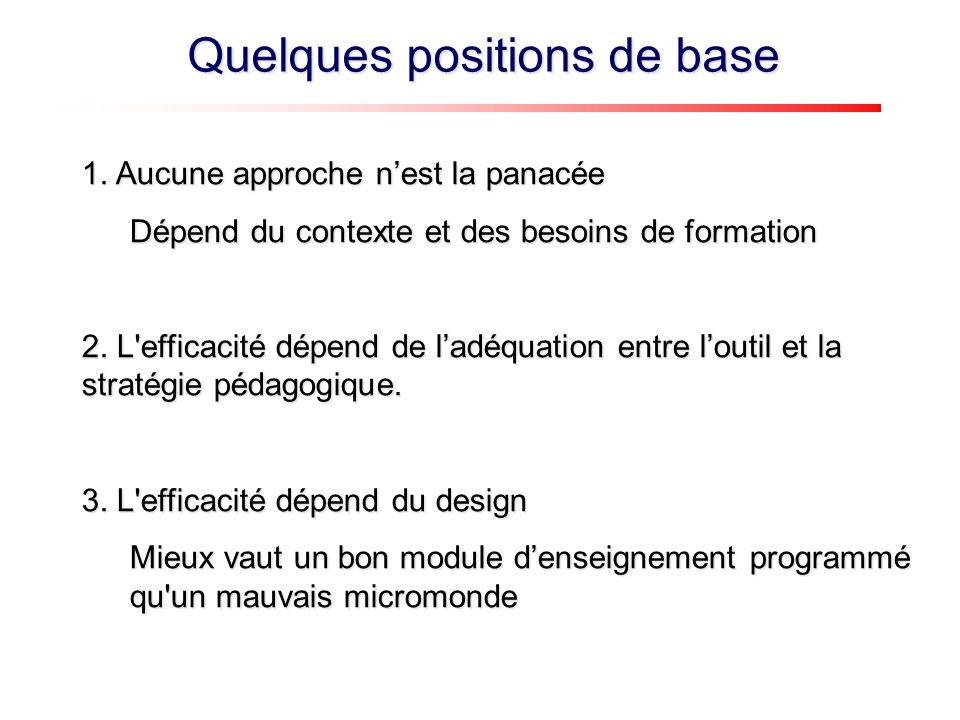 1. Aucune approche nest la panacée Dépend du contexte et des besoins de formation 2.
