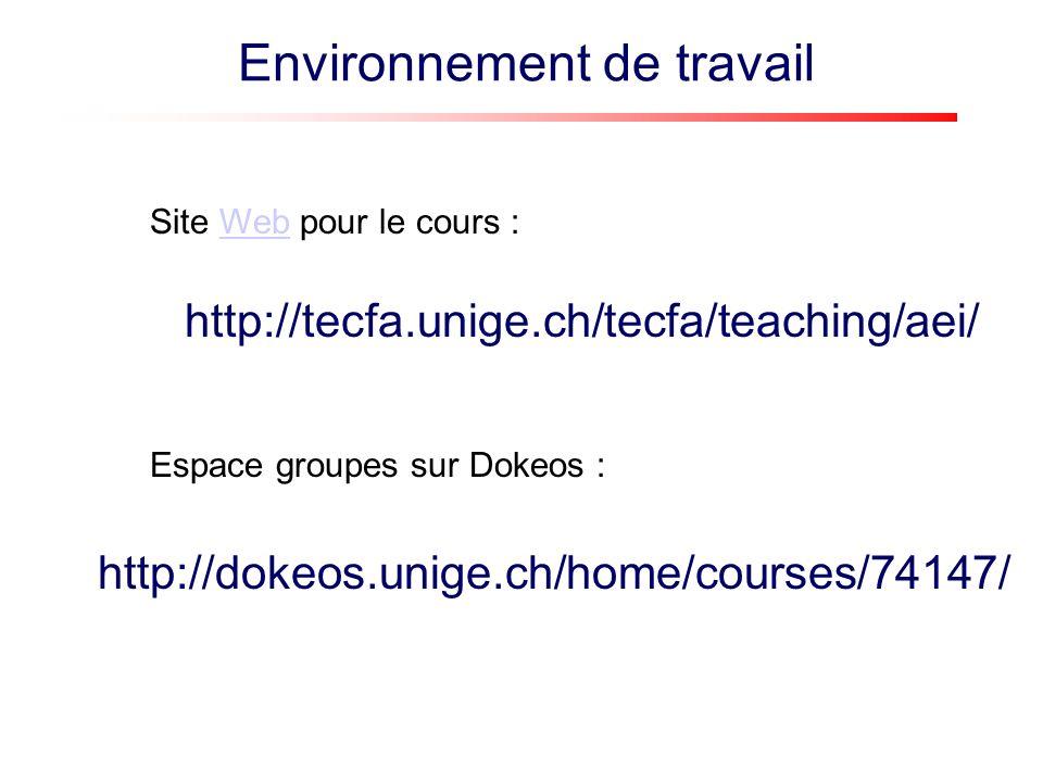 Environnement de travail : site web Date et type de séance Explications sur le projet