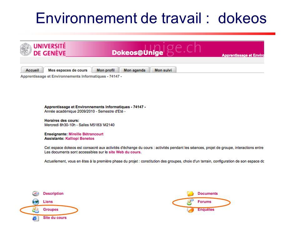 Environnement de travail : dokeos