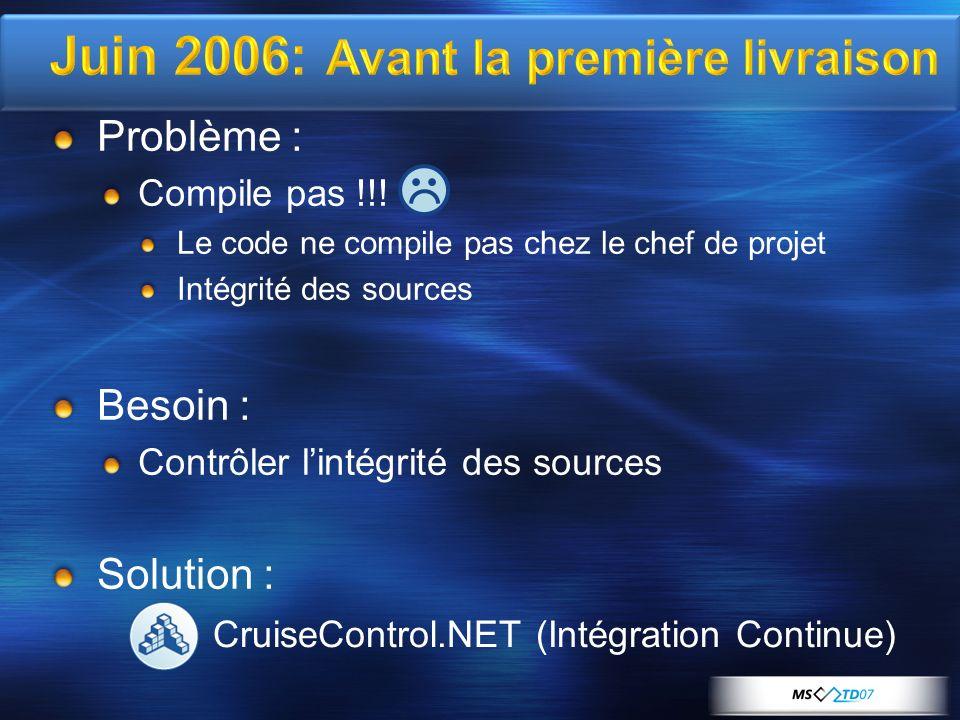 Juin 2006: Avant la première livraison Problème : Compile pas !!.