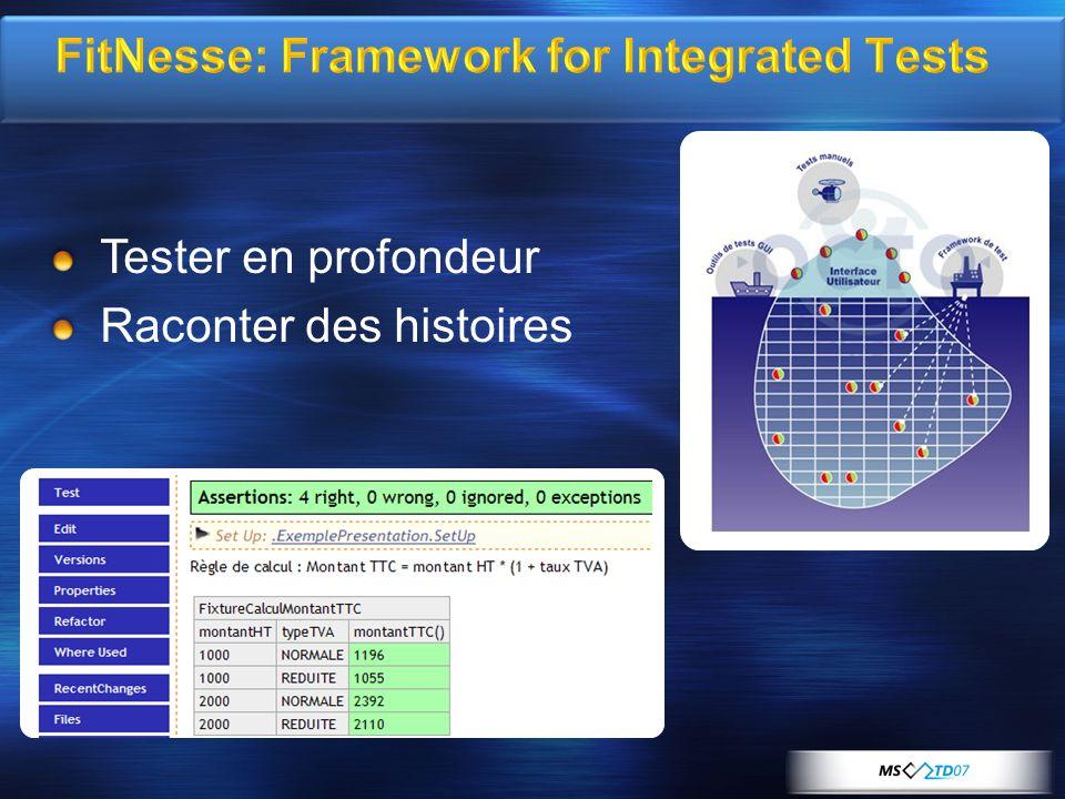 FitNesse: Framework for Integrated Tests Tester en profondeur Raconter des histoires