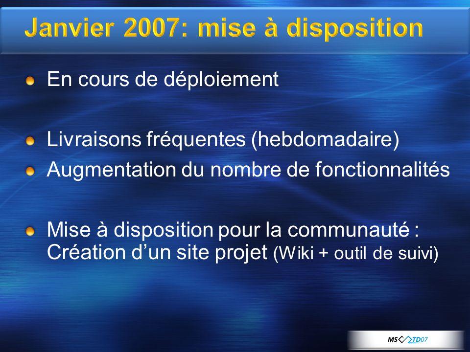 Janvier 2007: mise à disposition En cours de déploiement Livraisons fréquentes (hebdomadaire) Augmentation du nombre de fonctionnalités Mise à disposition pour la communauté : Création dun site projet (Wiki + outil de suivi)