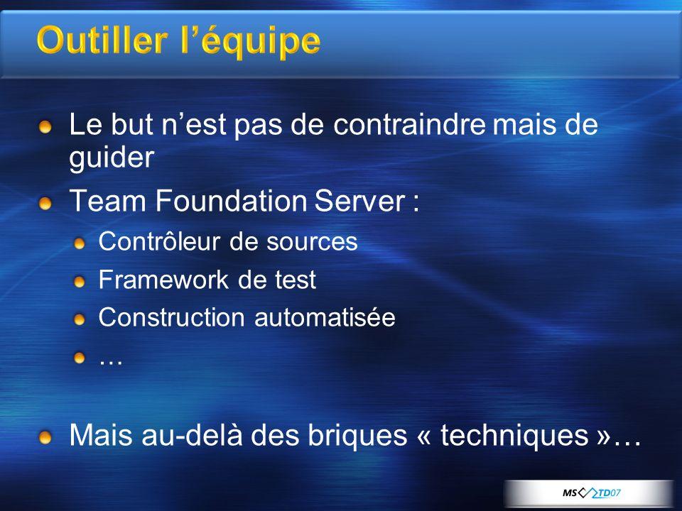 Outiller léquipe Le but nest pas de contraindre mais de guider Team Foundation Server : Contrôleur de sources Framework de test Construction automatisée … Mais au-delà des briques « techniques »…