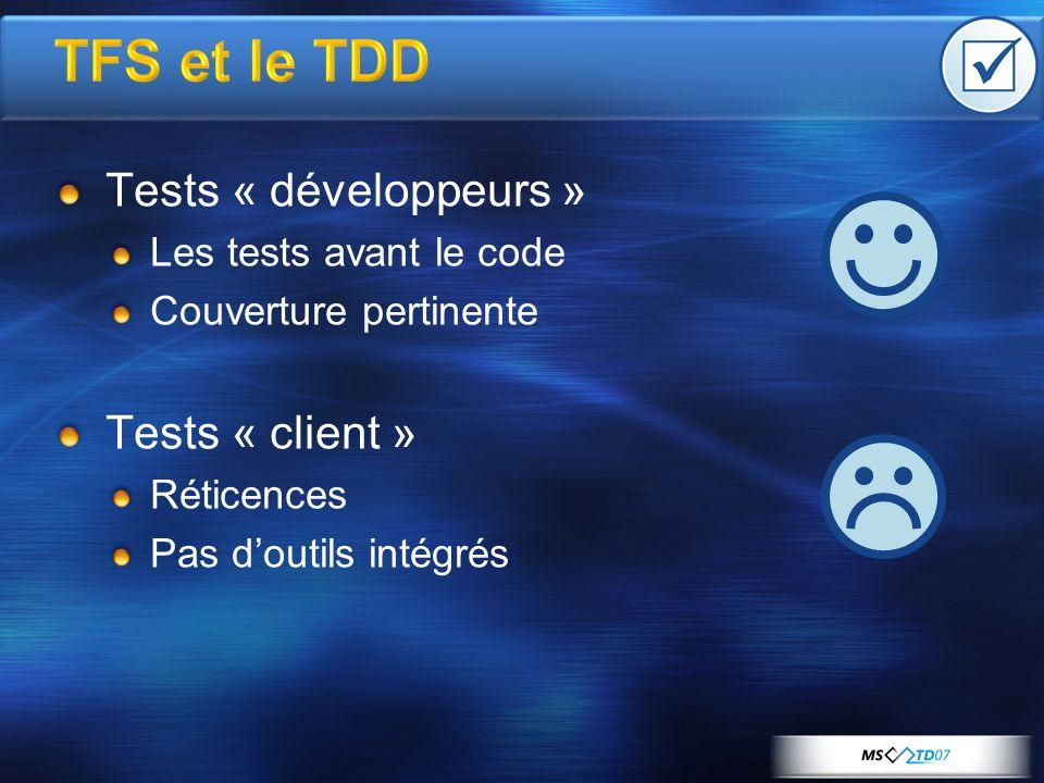 TFS et le TDD Tests « développeurs » Les tests avant le code Couverture pertinente Tests « client » Réticences Pas doutils intégrés