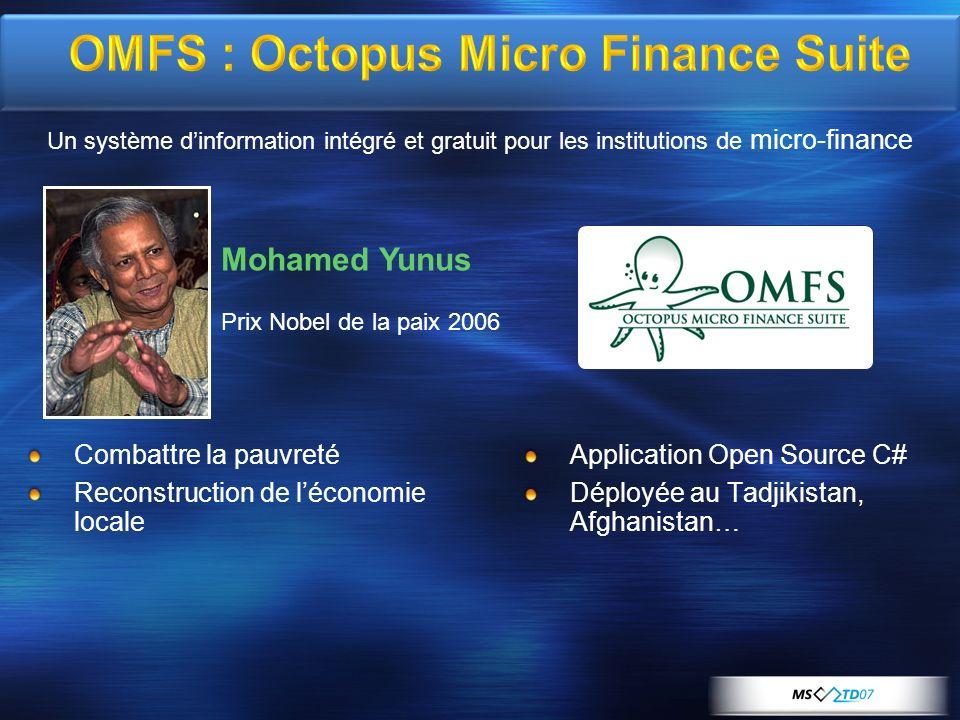 OMFS : Octopus Micro Finance Suite Application Open Source C# Déployée au Tadjikistan, Afghanistan… Combattre la pauvreté Reconstruction de léconomie locale Un système dinformation intégré et gratuit pour les institutions de micro-finance Mohamed Yunus Prix Nobel de la paix 2006