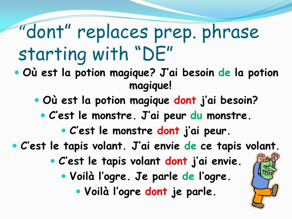 dont replaces prep.phrase starting with DE Où est la potion magique.