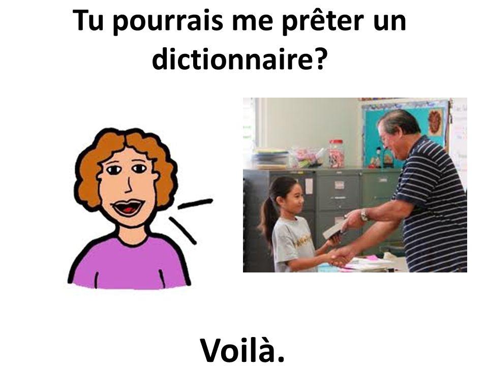 Tu pourrais me prêter un dictionnaire? Voilà.