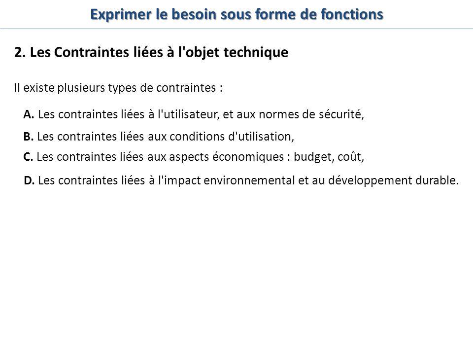 Il existe plusieurs types de contraintes : A. Les contraintes liées à l'utilisateur, et aux normes de sécurité, B. Les contraintes liées aux condition