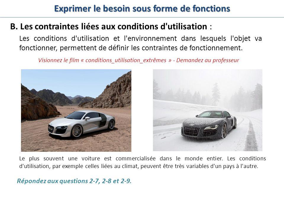 B. Les contraintes liées aux conditions d'utilisation : Les conditions d'utilisation et l'environnement dans lesquels l'objet va fonctionner, permette