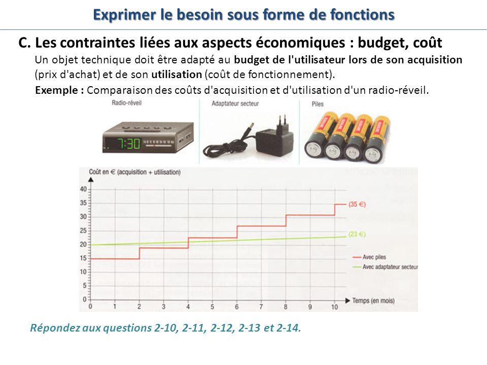 C. Les contraintes liées aux aspects économiques : budget, coût Un objet technique doit être adapté au budget de l'utilisateur lors de son acquisition