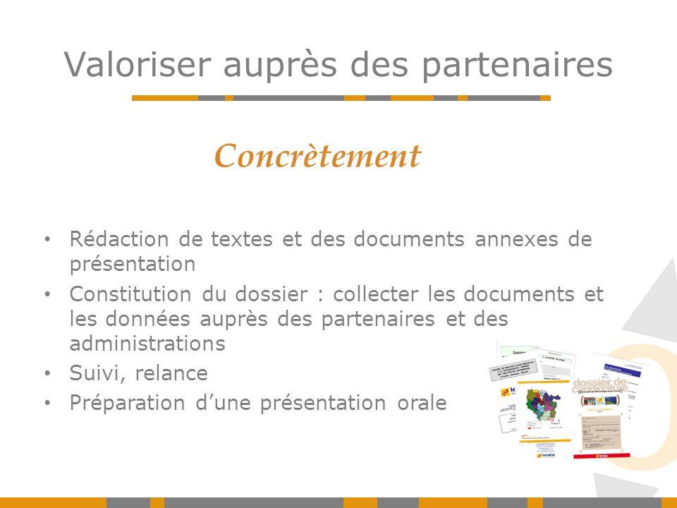 Rédaction de textes et des documents annexes de présentation Constitution du dossier : collecter les documents et les données auprès des partenaires e