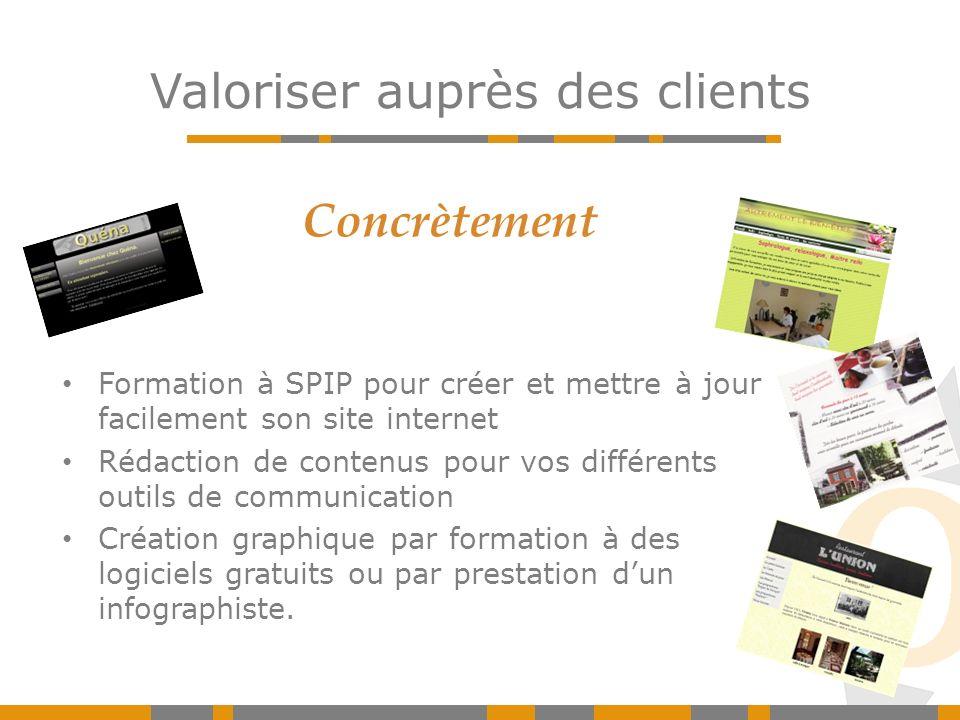 Valoriser auprès des clients Concrètement Formation à SPIP pour créer et mettre à jour facilement son site internet Rédaction de contenus pour vos dif