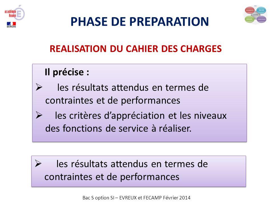 Bac S option SI – EVREUX et FECAMP Février 2014 PHASE DE PREPARATION Il précise : les résultats attendus en termes de contraintes et de performances l