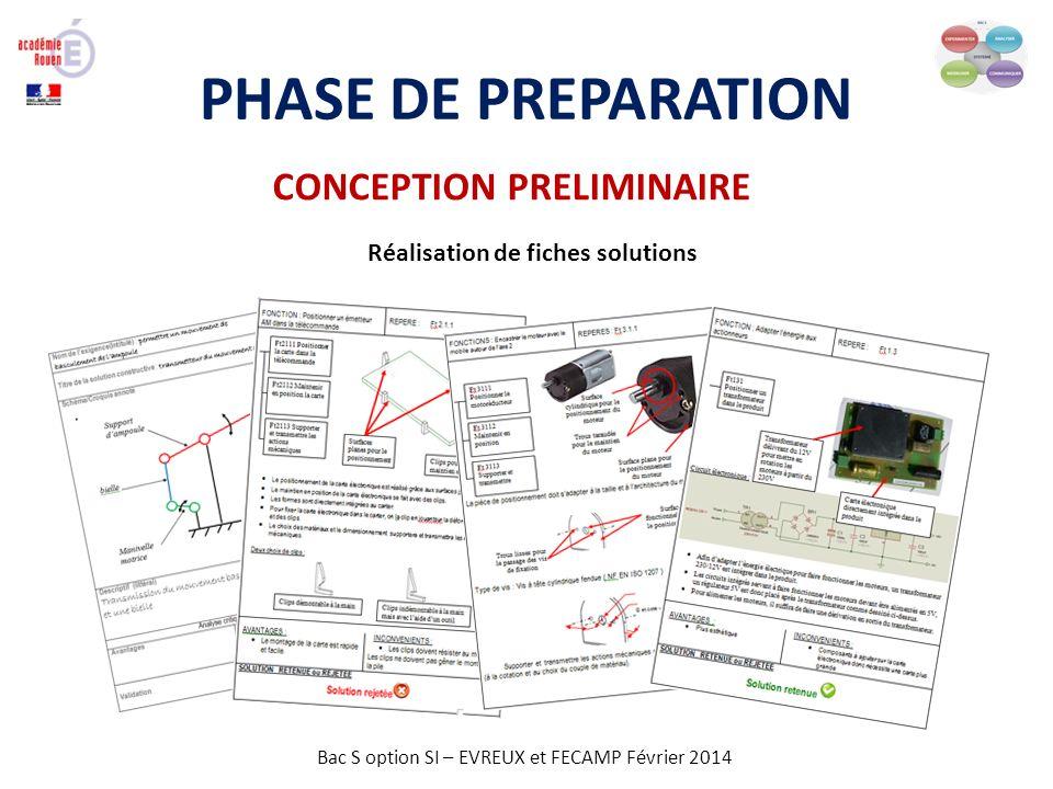 Bac S option SI – EVREUX et FECAMP Février 2014 PHASE DE PREPARATION CONCEPTION PRELIMINAIRE Réalisation de fiches solutions