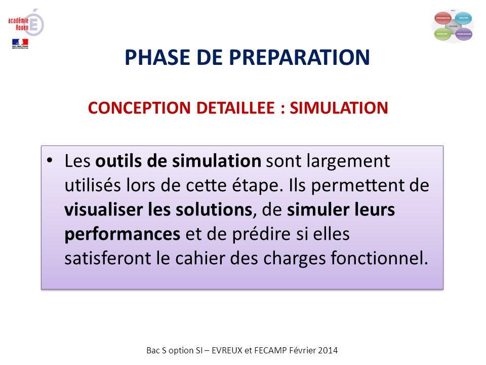 Bac S option SI – EVREUX et FECAMP Février 2014 PHASE DE PREPARATION CONCEPTION DETAILLEE : SIMULATION Les outils de simulation sont largement utilisé