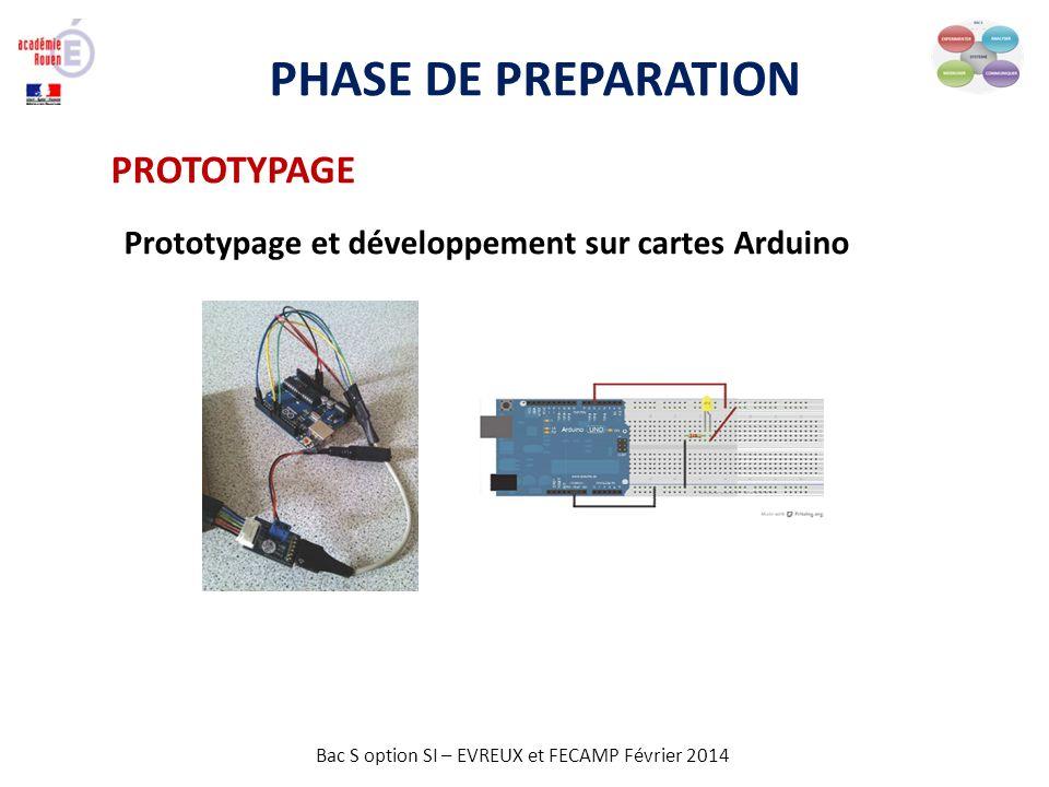 Bac S option SI – EVREUX et FECAMP Février 2014 PHASE DE PREPARATION PROTOTYPAGE Prototypage et développement sur cartes Arduino