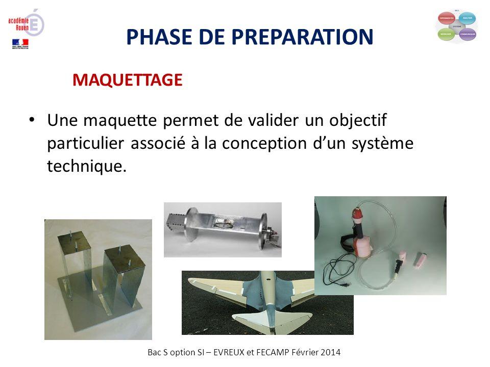 Bac S option SI – EVREUX et FECAMP Février 2014 PHASE DE PREPARATION MAQUETTAGE Une maquette permet de valider un objectif particulier associé à la co