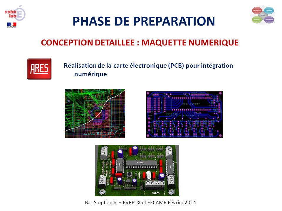 Bac S option SI – EVREUX et FECAMP Février 2014 PHASE DE PREPARATION Réalisation de la carte électronique (PCB) pour intégration numérique CONCEPTION