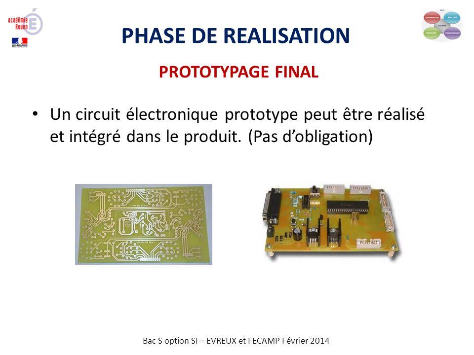 Bac S option SI – EVREUX et FECAMP Février 2014 PHASE DE REALISATION PROTOTYPAGE FINAL Un circuit électronique prototype peut être réalisé et intégré