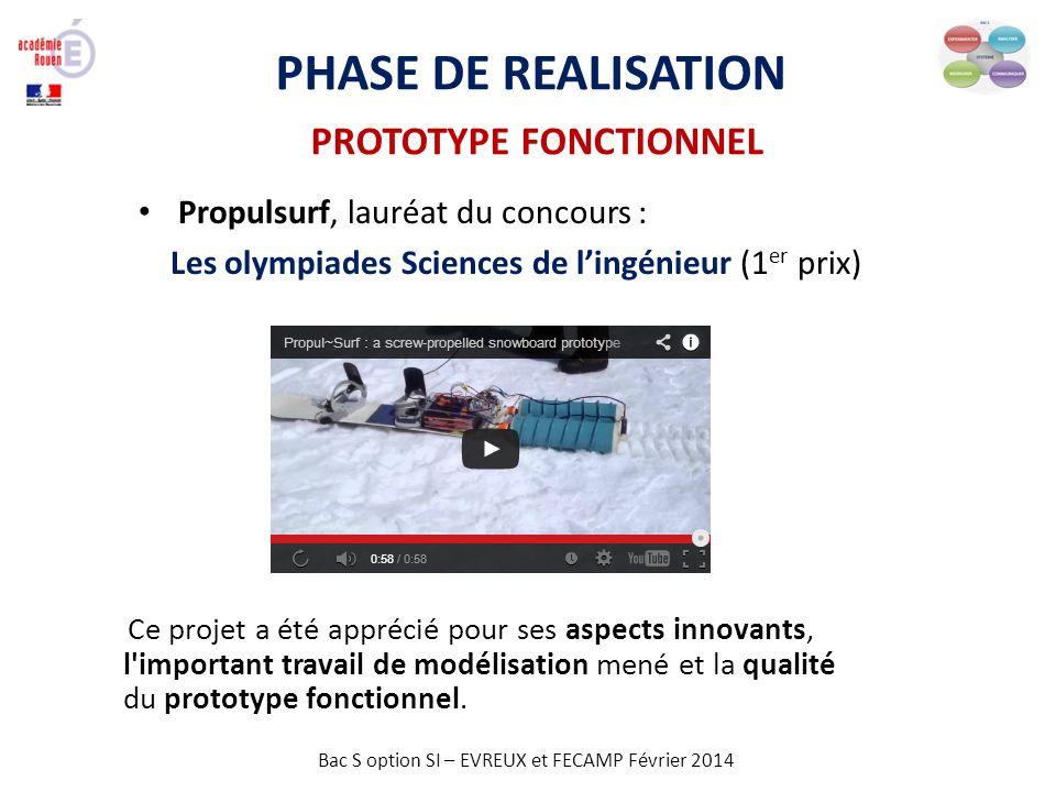 Bac S option SI – EVREUX et FECAMP Février 2014 PHASE DE REALISATION PROTOTYPE FONCTIONNEL Propulsurf, lauréat du concours : Les olympiades Sciences d