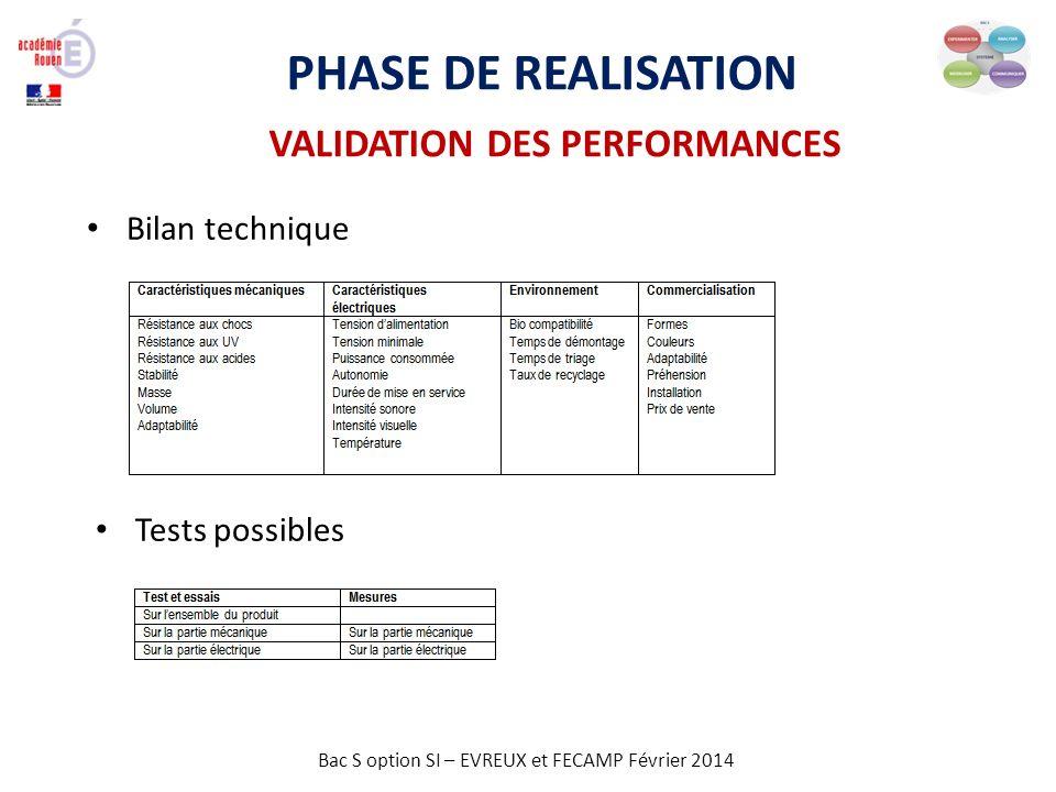 Bac S option SI – EVREUX et FECAMP Février 2014 PHASE DE REALISATION VALIDATION DES PERFORMANCES Bilan technique Tests possibles