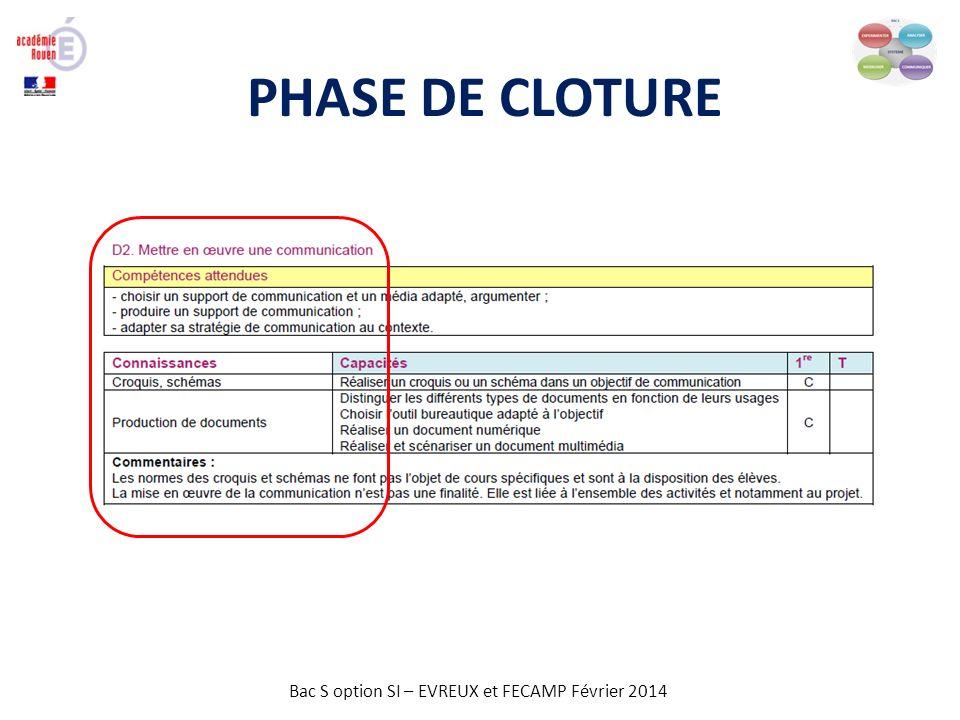Bac S option SI – EVREUX et FECAMP Février 2014 PHASE DE CLOTURE