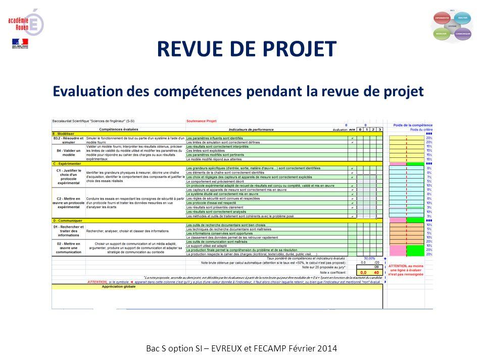 Bac S option SI – EVREUX et FECAMP Février 2014 REVUE DE PROJET Evaluation des compétences pendant la revue de projet