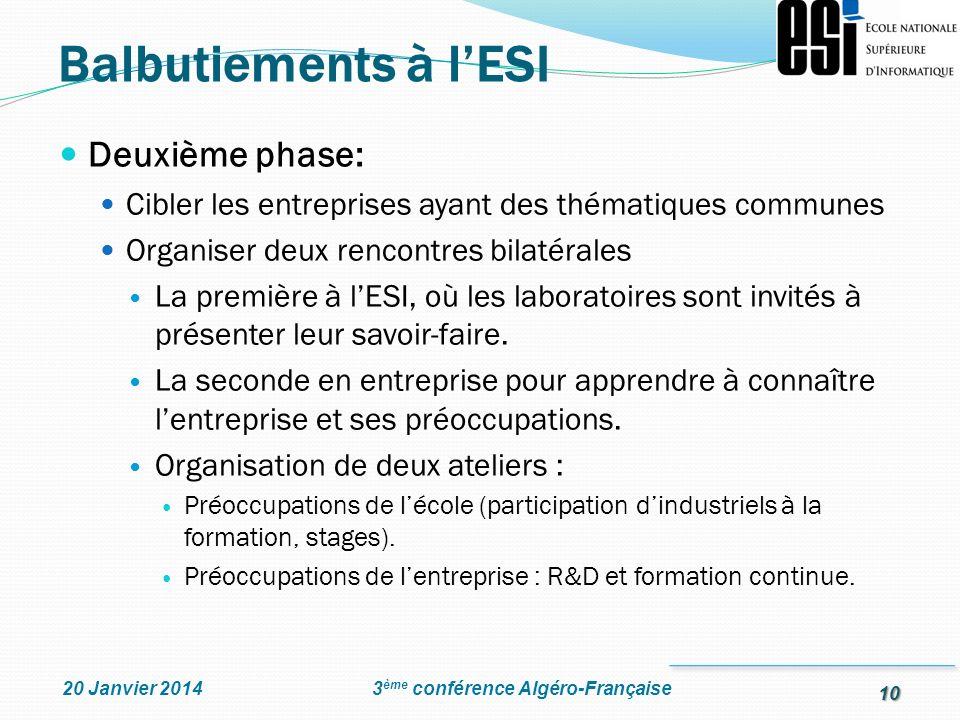 10 3 ème conférence Algéro-Française20 Janvier 2014 Deuxième phase: Cibler les entreprises ayant des thématiques communes Organiser deux rencontres bi